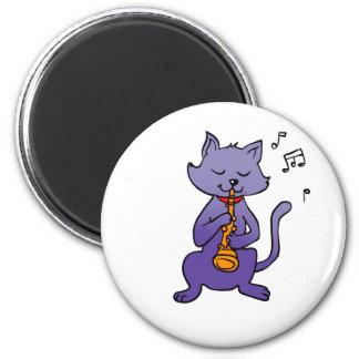 Cartoon cat playing flute magnet