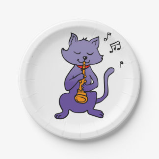 Cartoon cat playing flute paper plate