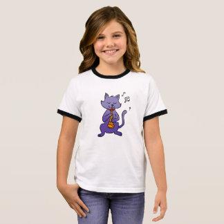 Cartoon cat playing flute ringer T-Shirt