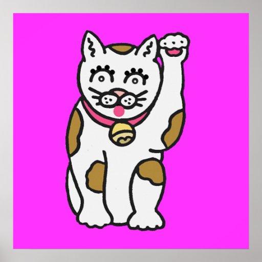 Cartoon Cat waving its paw poster Print 3 ft.