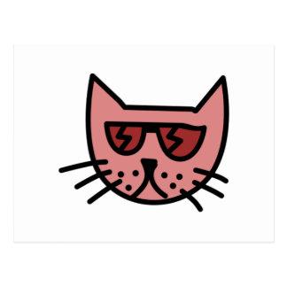Cartoon Cat Wearing Sunglasses Postcard