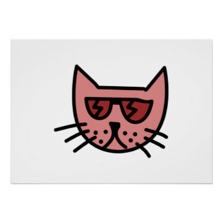 Cartoon Cat Wearing Sunglasses Posters