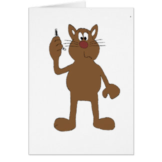 Cartoon Cat With Cell Phone Greeting Card