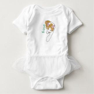cartoon cat with play logo baby bodysuit