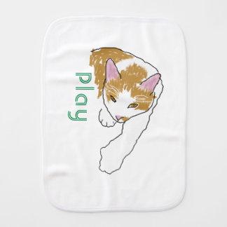 cartoon cat with play logo burp cloth