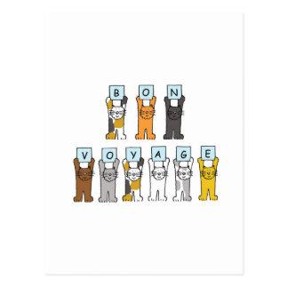 Cartoon cats Bon Voyage Postcard