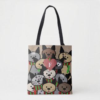 Cartoon Cats Monogram Tote Bag
