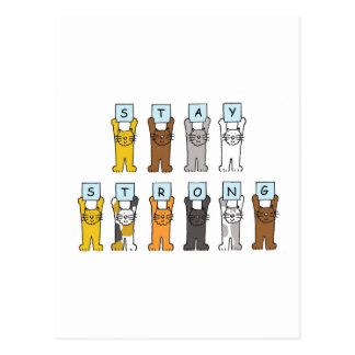 cartoon cats stay strong encouragement. postcard