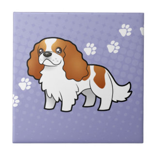 Cartoon Cavalier King Charles Spaniel Ceramic Tile