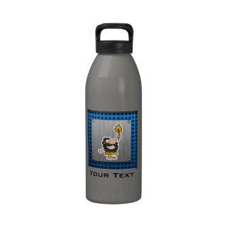 Cartoon Caveman; Metal-look Reusable Water Bottle