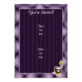 "Cartoon Caveman; Purple 5"" X 7"" Invitation Card"