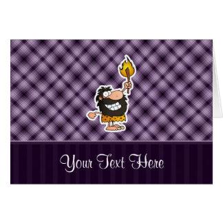 Cartoon Caveman; Purple Greeting Card