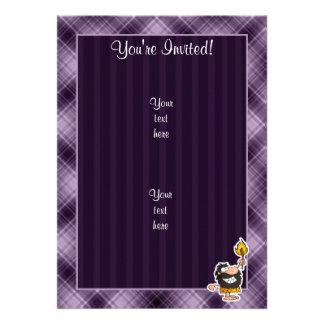Cartoon Caveman Purple Cards