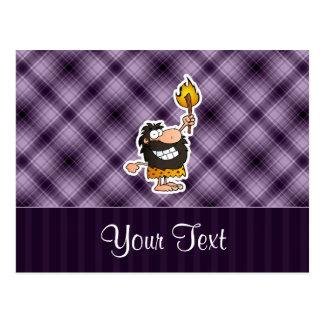 Cartoon Caveman Purple Postcard