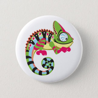 cartoon chameleon 2 inch round button