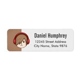 Cartoon Character Brown Hair Boy on Chestnut Brown Return Address Label
