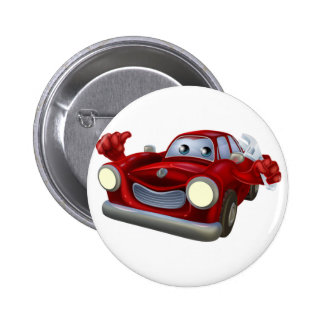 Cartoon character car mechanic 2 inch round button