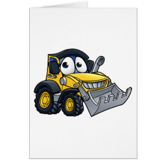 Cartoon Character Digger Bulldozer Card