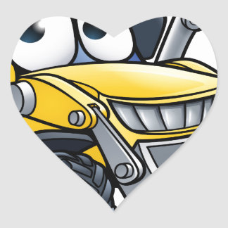 Cartoon Character Digger Bulldozer Heart Sticker