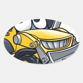 Cartoon Character Digger Bulldozer Oval Sticker