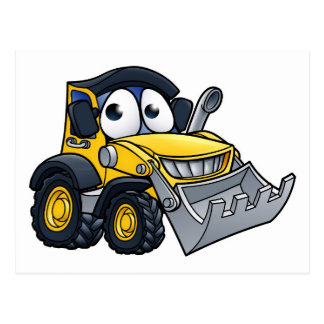 Cartoon Character Digger Bulldozer Postcard