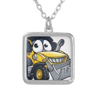 Cartoon Character Digger Bulldozer Silver Plated Necklace