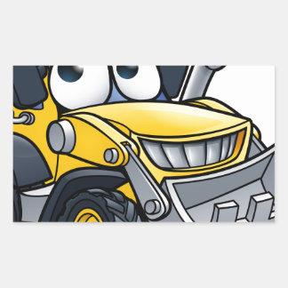 Cartoon Character Digger Bulldozer Sticker