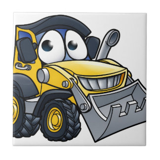 Cartoon Character Digger Bulldozer Tile