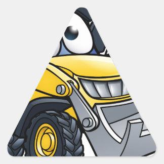 Cartoon Character Digger Bulldozer Triangle Sticker