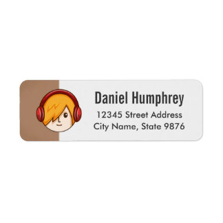 Cartoon Character Gold Boy on Chestnut Brown Return Address Label