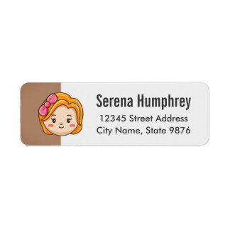 Cartoon Character Gold Girl on Chestnut Brown Return Address Label