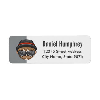 Cartoon Character Hipster Guy on Silver Return Address Label