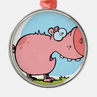 Cartoon Character Pig Looks Scared Silver-Colored Round Ornament