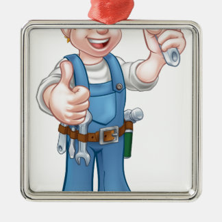 Cartoon Character Plumber or Mechanic Silver-Colored Square Ornament
