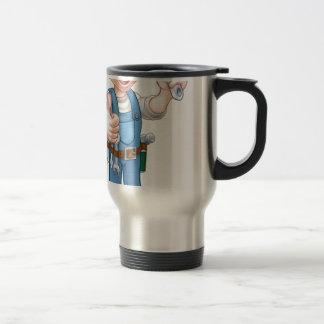 Cartoon Character Plumber or Mechanic Travel Mug
