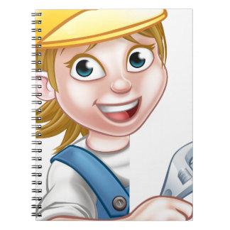 Cartoon Character Plumber Woman Spiral Notebook