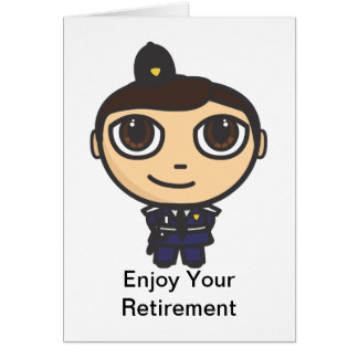 Cartoon Character Policeman Retirement Card