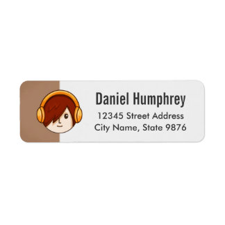 Cartoon Character Red Head Boy on Chestnut Brown Return Address Label