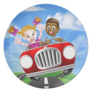 Cartoon Characters Driving Car Plate