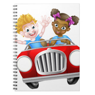Cartoon Characters Driving Car Spiral Notebooks