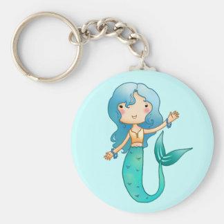 Cartoon Cheerful Mermaid Basic Round Button Keychain