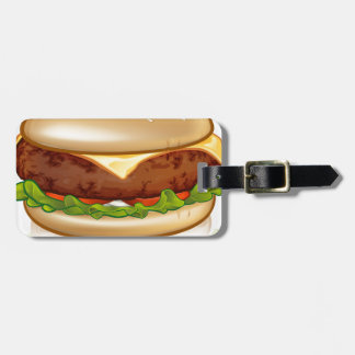 Cartoon Cheese Burger Luggage Tag