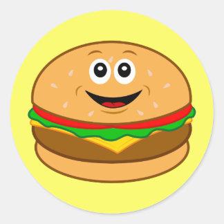 Cartoon Cheeseburger Classic Round Sticker