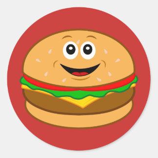 Cartoon Cheeseburger Round Sticker