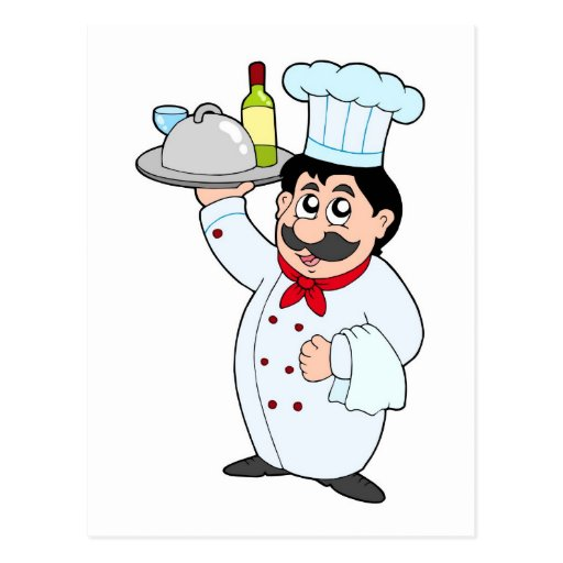 Cartoon chef holding meal and wine postcards