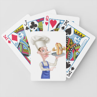 Cartoon Chef Holding Plate or Platter Bicycle Playing Cards