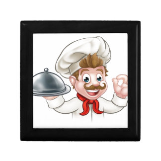 Cartoon Chef Holding Plate or Platter Gift Box