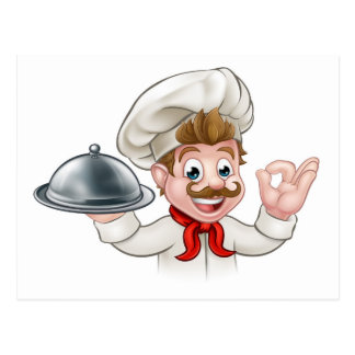 Cartoon Chef Holding Plate or Platter Postcard
