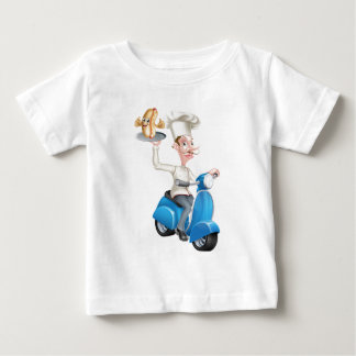 Cartoon Chef on Scooter Moped Delivering Hotdog Baby T-Shirt