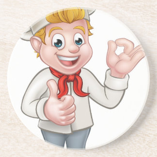 Cartoon Chef or Baker Character Coaster
